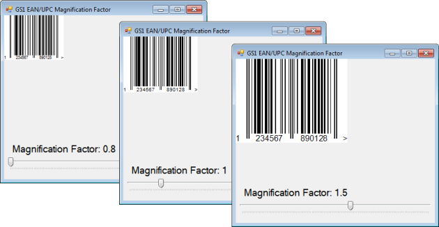 Barcode Professional settings for reproducing GS1 EAN/UPC Magnification Factor feature