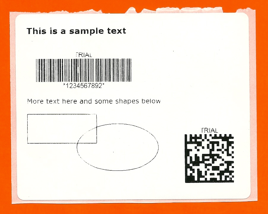 A barcode label printed from Silverlight to a Zebra thermal printer