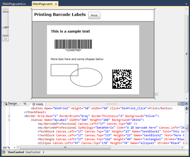 Visual Studio 2010 Silverlight app for printing barcode labels to thermal printers
