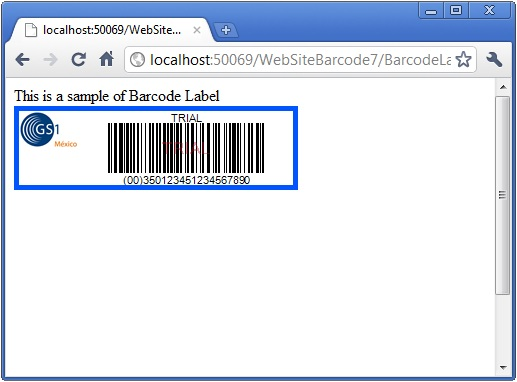 The GS1 logo merged with a GS1-128 barcode in ASP.NET