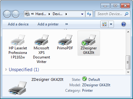 Setting the default printer on Windows 7