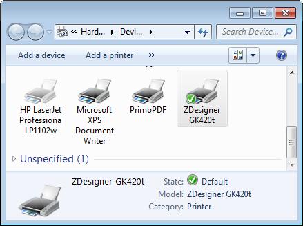 Setting the default printer on Windows 7